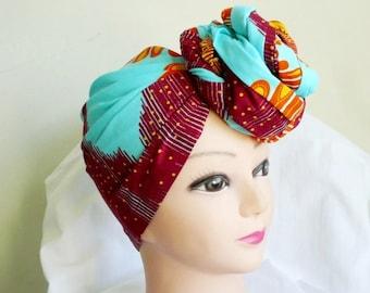 Orange Feathers Ankara Head wrap, DIY head tie, Stylish African head scarf, Fabric hair accessory – Made to Order