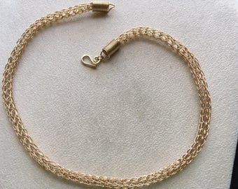 Gold-filled 14/20k Viking weave necklace.
