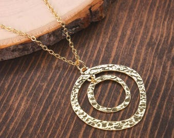 Hammered Necklace, Minimalist Necklace, Geometric Necklace, Gold Necklace, Circle Necklace BN705-G1
