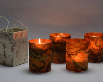 Orange and Black Marble Soy Luminary Candles - Case of 4