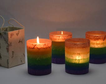 Rainbow Soy Luminary Candles - Case of 4