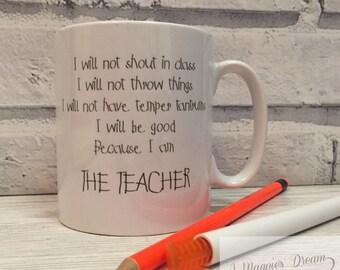 Personalised teacher mug - funny teacher mug - teacher gift. Birthday present, chistmas present. School leaving present