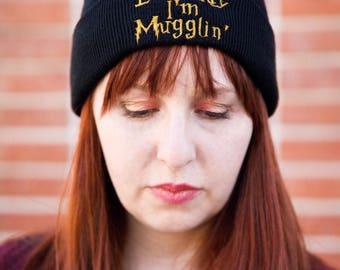 Everyday Im Mugglin' fashion embroidered beanie, Harry Potter beanie, Harry Potter hat, Muggle, Mugglin, black beanie, harry potter gift,