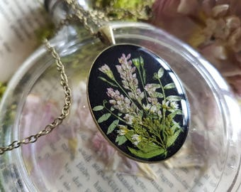 Real flowers Botanical Flower chain necklace nostalgia bouquet of wild flowers forever