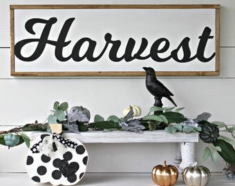 Harvest sign,Fall Sign, Halloween signs,framed signs,farmhouse signs,home decor,home and living,Harvest,pumpkin signs,wood pumpkins