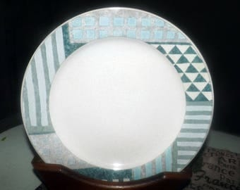 Vintage Studio Nova | Mikasa Eclectic pattern large salad plate. Blue, green and grey geometric pattern.