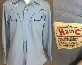 H Bar C California Ranch Wear Light Blue, Pearl snap. Polyester, Men's 1970's Long Sleeve Shirt