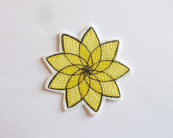 Patch embroidery patch fusible black and yellow rosette