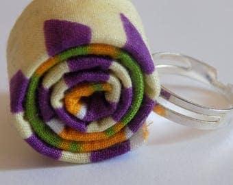 Original ring purple/green/yellow wax fabric