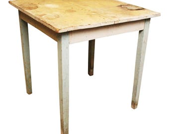 Vintage WOOD FARM TABLE ~ Original White Chippy Paint ~ Farmhouse Country  Cottage Chic Shabby 30s