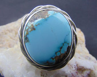 Mens turquoise ring size 11 Solid sterling silver Navajo inspired design elements Natural Sierra Nevada Turquoise Arizona