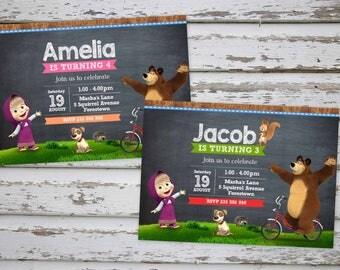 Masha and The Bear Birthday Party Invitation Printable Masha & Bear Birthday Invitation, Masha i Medved PRINTABLE (ANY LANGUAGE)