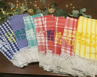 Hand embroidered Buenos Dias Dishtowels with Lace