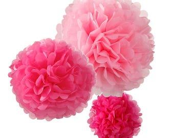 Pink Paper Pom Pom Decorations, Pom Pom Decorations, Party Decorations, Wedding Decorations, Bridal Shower, Hen Party Decorations, Wedding
