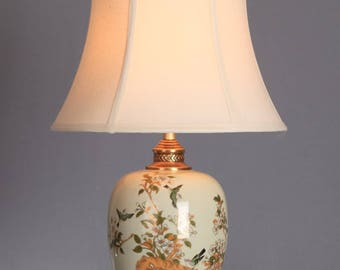 Table Lamp With Shade Porcelain Handpainted Oriental Asian Chinese Lighting Cream with Flowers and Branches and Birds