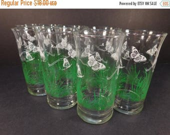 20% OFF SALE - Vintage White Butterflies and Grass Drinking Glasses, Set of 8, Retro Kitchen