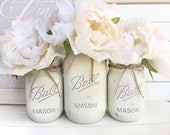 Three Painted Mason Jar - Shabby Chic Rustic Decor Centerpieces Flower Vases Distressed Painted Beach Wedding All Ivory White Floral