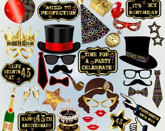 45th birthday 45th birthday party birthday photo booth photobooth props lips birthday party props party printable black and gold props