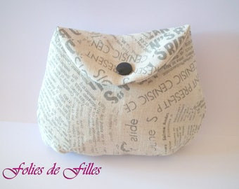 Small clutch makeup newspaper print fabric