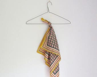 SALE 15% OFF Vintage 60s Plaid Square Scarf - Made in Italy