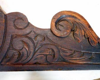 Antique Wood Pediment, Architectural Salvage, Victorian Shelf Headboard Sideboard Embellishment, Antique Pediment for Upcycle Project