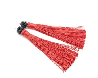 Red Tassel earrings - Tassel earrings - Tassel Jewelry - Fringe Earrings - Dangling earrings - Tassel Earrings Beaded - Earrings Long