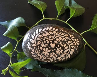 Painted Stone: Floral Heart