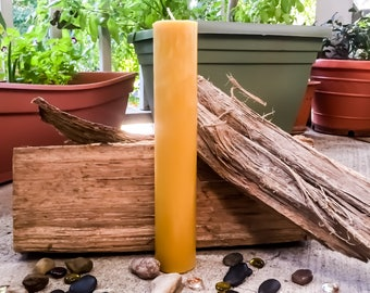 "100% Pure beeswax candle-extra tall pillar candles-scented-unscented-organic beeswax candle-pillar candle-organic beeswax candle-6"" to 9"""