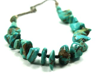Vintage turquoise necklace Nugget necklace Natural Kingman Turquoise Nugget Necklace Large Natural Turquoise Single Strand Necklace