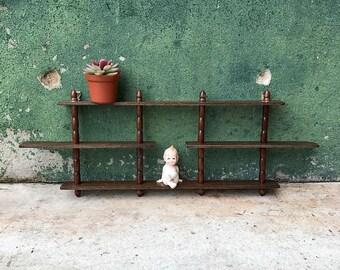 Vintage Mid Century Wooden Miniatures Hanging Display Shelf | Collection Display