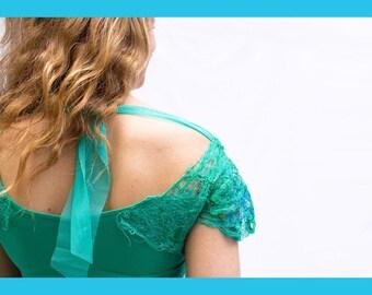 HAUT ÉPAULES BRODÉES-chandail Aqua-haut en bambou-broderie-vert jade-bleu électrique-chandail confortable-paillettes