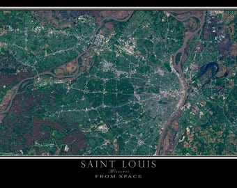 Saint Louis Missouri From Space Satellite Poster Map