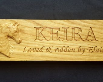 Custom Personalised Oak Stable Stall Door Plaque Sign - 3D Carved Horse Head - Engraved Name and Ridden By, Show Name, Owned By - Hard wood