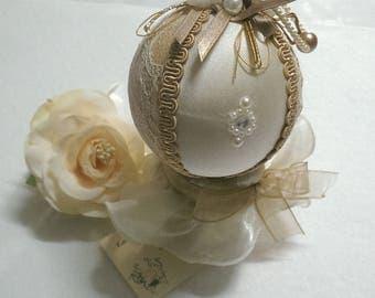 Christmas ball , unique Christmas gift, original silk and pearls ball