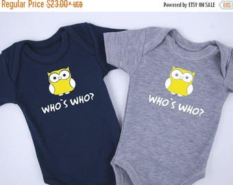 LATE SHIP SALE Identical Twin Boy Outfits, Who Is Who? Funny Twin Outfits, Set of 2 Bodysuits - Navy & Gray, Identical Twins, Twin Boy Gifts