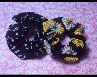 Cotton Hair Scrunchies, Stretchy Printed Fabric Scrunchies