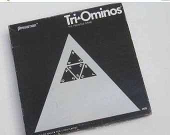 On Sale Mid century Trioninos game. Trisngle game. Pressman Triominos game. Family game. Vintage game.