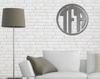 3 Letter Block Metal Circle Monogram