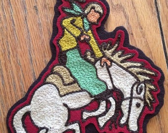 Chainstitch embroidered Bucking Bronco patch!