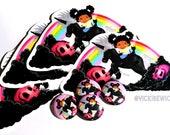 Black Unicorn and Rainbow, Afro Kawaii Sticker, Pinback Buttons