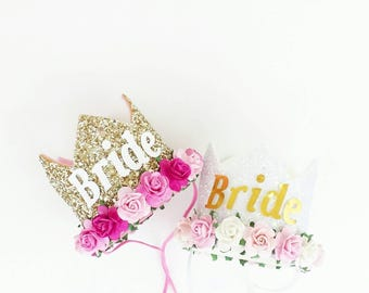 Bride crown - Bachelorette party - Bride to Be - White crown -gold crown - hen party -  fully customiseable