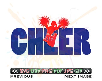 Cheer Word SVG Files Cheerleading Designs Cheerleader DXF Files - SVG Files for Sports - Instant Download