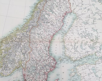 1898 Sweden, Norway and Denmark Extra Large Original Antique A & C Black Map - Scandinavia - Wall Decor - Gift Idea