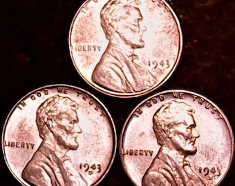 1943P 1943D 1943S LINCOLN WHEAT PENNIES Lot of Three All Steel (Zinc) Uncirculated From the Philadelphia, Denver & San Francisco Mints