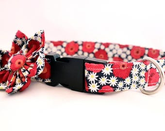 Handmade poppy/daisy Dog Collar &  flower Set