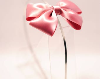 Vintage pink Satin bow headband