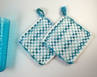 Cotton Hot Pads White and Aqua Turquoise Teal