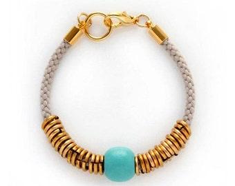 Grey Rope Bracelet, Turquoise Bead Bracelet, Boho Chic Bracelet, Delicate Bracelet, Gold Loop Bracelet