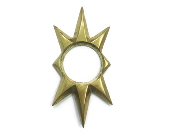 1 LARGE Vintage Brass Starburst Door Knob Plate - Heavy MCM Atomic Star Back Plate or Escutcheon - Exterior Door Hardware