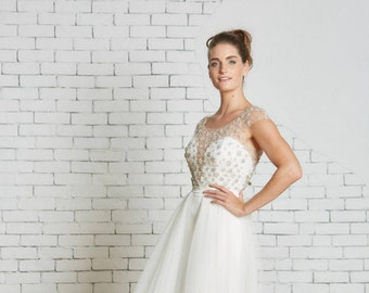 """Tulle bridal overskirt with unique open front the """"Millie Skirt"""" CUT TO ORDER"""